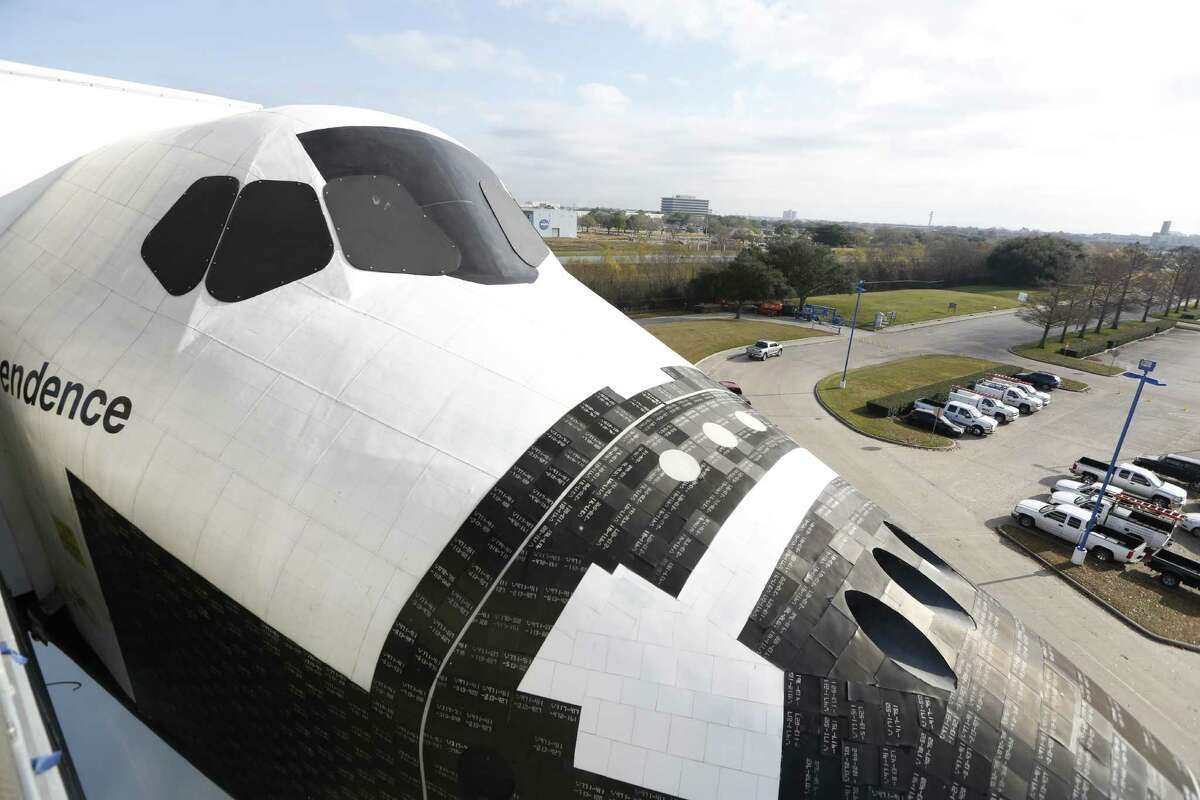 """A view of the shuttle replica Independence's nose Wednesday, Jan. 20, 2016, in Houston. Space Center Houston's colossal new Independence Plaza opens Saturday, Jan. 23, with fireworks, skydivers, astronauts, hands-on science activities and live presentations as it celebrates """"Mission Accomplished."""""""