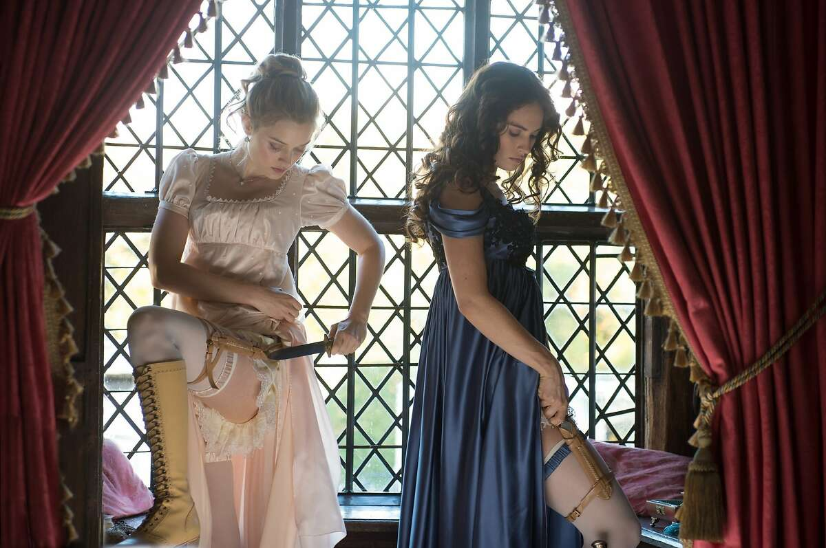 """Bella Heathcote, left, as Jane Bennett and Lily James, right, as Elizabeth Bennet in """"Pride and Prejudice and Zombies,"""""""