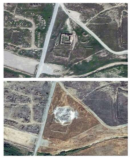 Satellite images from March 2011, top, and September 2014 illustrate the destruction of a 1,400-year-old Christian monastery near ISIS-occupied Mosul, Iraq.   Photo: HONS / DigitalGlobe