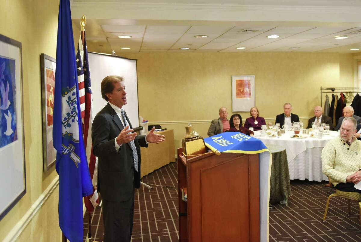 State Sen. Scott Frantz speaks at the Rotary Club of Greenwich Luncheon at the Hyatt Regency in Old Greenwich on Wednesday. Frantz went into heavy detail about the 2016 budget and stayed for a brief Q&A following the presentation.