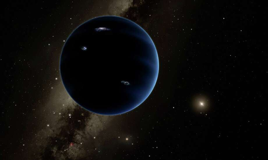 "This artistic rendering provided by California Institute of Technology shows the distant view from Planet Nine back towards the sun. The planet is thought to be gaseous, similar to Uranus and Neptune. Hypothetical lightning lights up the night side. Scientists reported Wednesday, Jan. 20, 2016, they finally have ""good evidence"" for Planet X, a true ninth planet on the fringes of our solar system. Photo: R. Hurt, AP / California Institute of Technology"