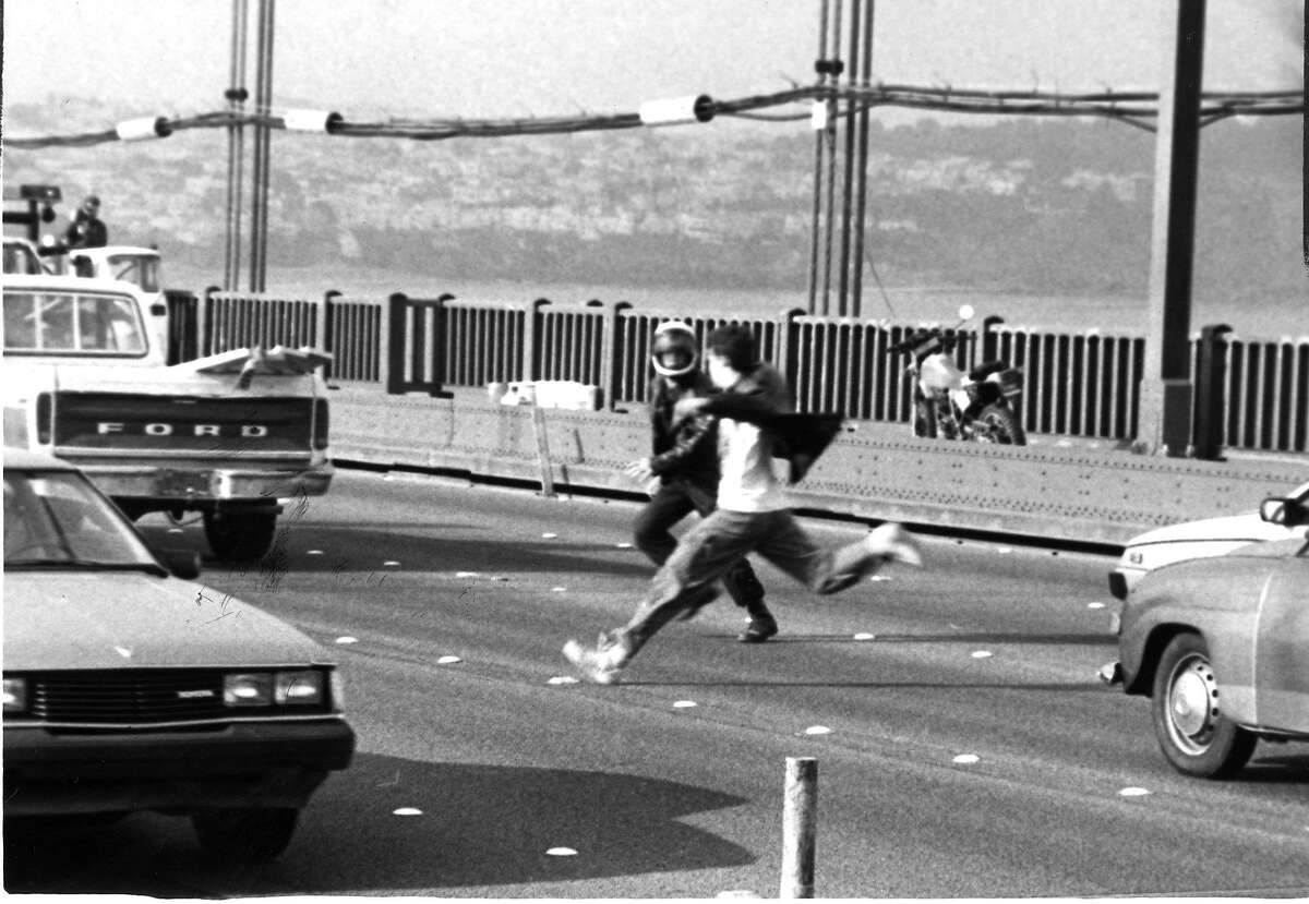 Demonstrations and protests on the 40th anniversary of the atomic bomb being dropped on Hiroshima Some protesters blocked traffic on the Golden Gate Bridge AP photo ran 08/07/1985 p. 13