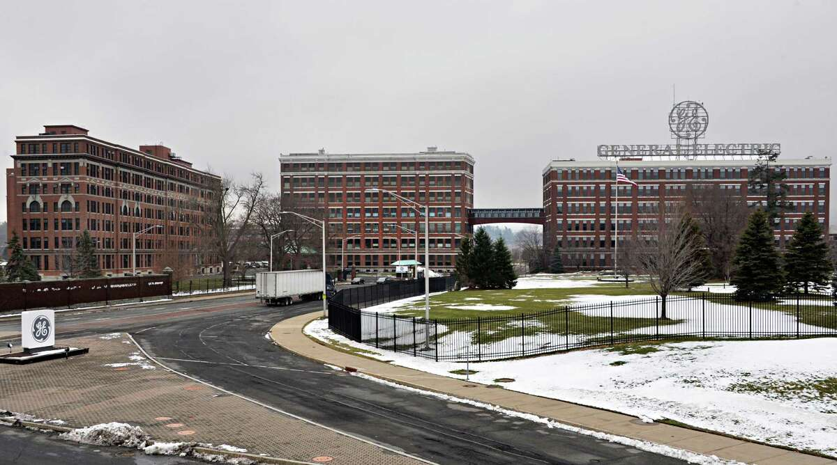 Entrance to the General Electric campus off Erie Blvd. Tuesday Dec. 16, 2014, in Schenectady, NY. Building 5 is in the center connected to the building with the GE sign by a walkway. (John Carl D'Annibale / Times Union)