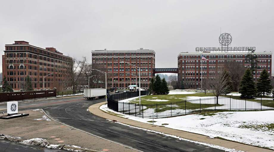 Entrance to the General Electric campus off Erie Blvd. Tuesday Dec. 16, 2014, in Schenectady, NY. Building 5 is in the center connected to the building with the GE sign by a walkway. (John Carl D'Annibale / Times Union) Photo: John Carl D'Annibale