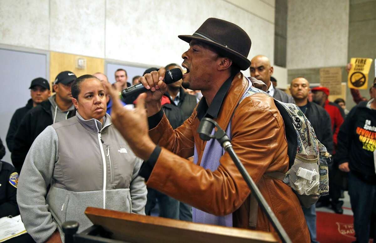 """A man identifying himself as """"Salaci"""" asks for action in the police involved shooting of Mario Woods during San Francisco Police Commission meeting at Salvation Army Kroc Center in San Francisco, Calif., on Wednesday, January 20, 2016."""