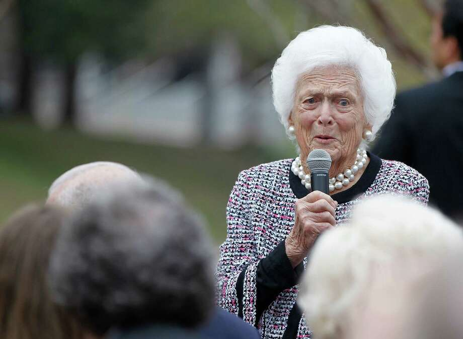 Barbara Bush speaks to the crowd during an invitation-only ceremony officially renaming the Preston Street Bridge near downtown in late Robert A. Mosbacher, Sr.'s honor on Wednesday, Jan. 20, 2016, in Houston.Continue clicking to see photos of Barbara Bush through the years. Photo: Karen Warren, Houston Chronicle / © 2015  Houston Chronicle