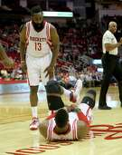 After falling awkwardly during Wednesday's game against the Pistons, Rockets center Dwight Howard still has some discomfort when running. Howard returned to the practice court Saturday, but his status for games remains up in the air.