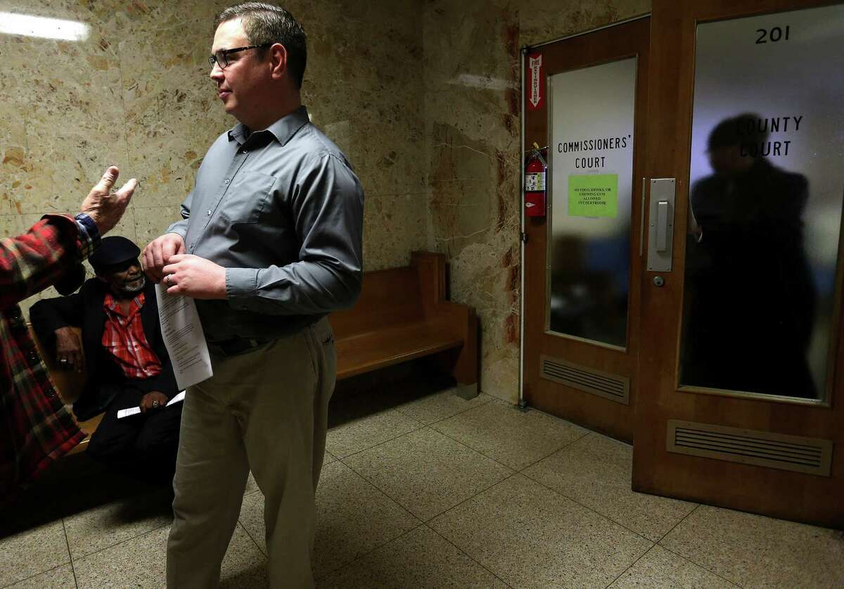 Waller elections administrator Dan Teed talks to supporters after presenting to the Waller Count Commissioners at the Waller County Courthouse on Wednesday, Jan. 20, 2016, in Hempstead.