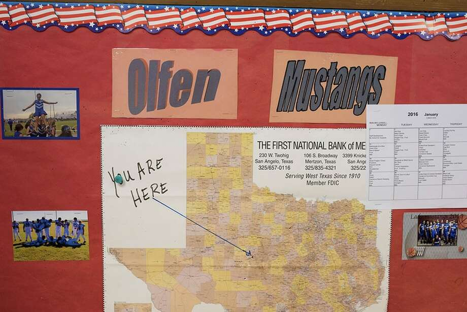 The location of Rowena, Texas, shown on a classroom map at Olfen ISD School. Photo: Cooper Neil