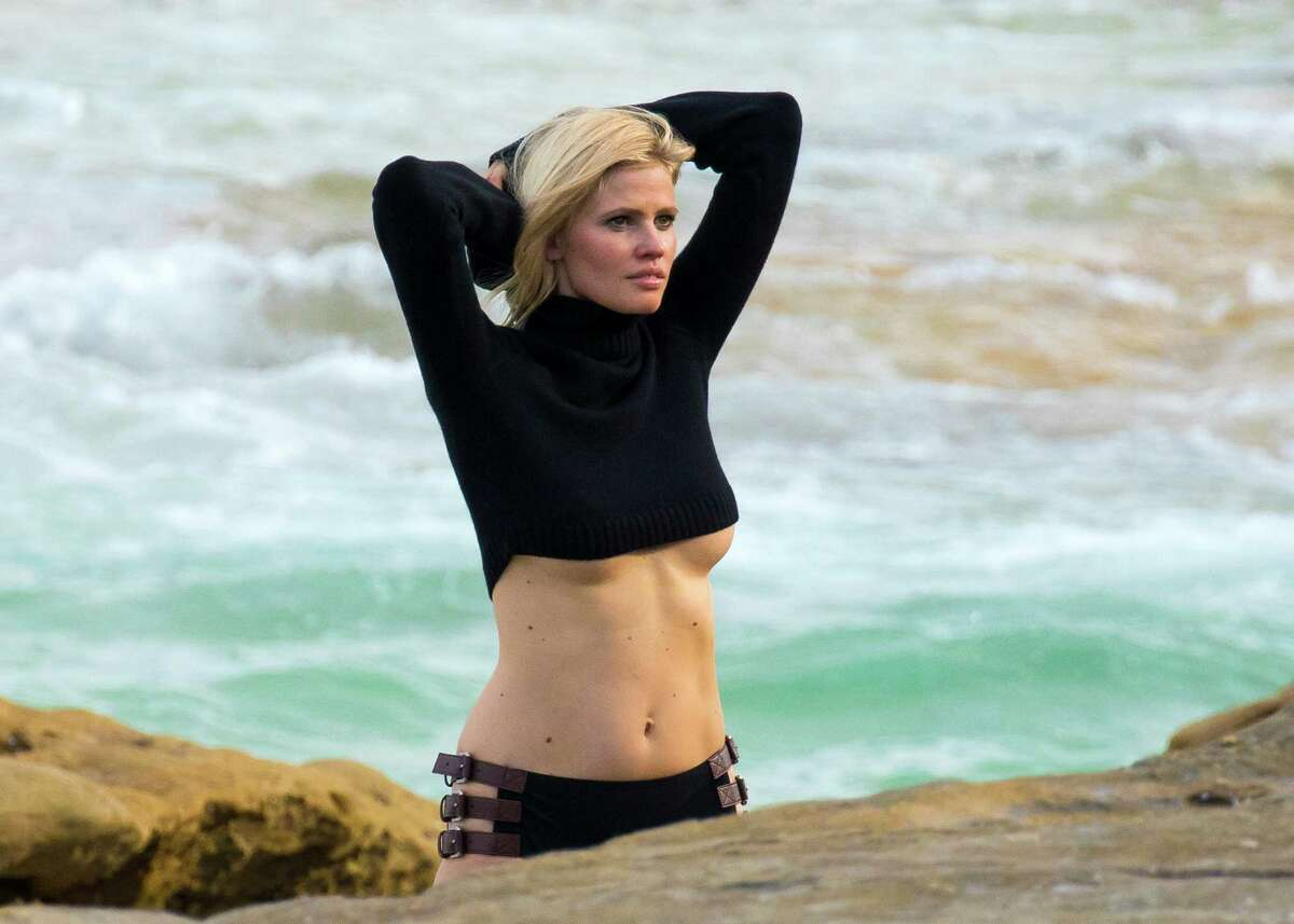 Lara Stone is sighted during a Mario Testino photoshoot on Bondi Beach on January 20, 2016 in Sydney, Australia. (Photo by Matrix/GC Images)