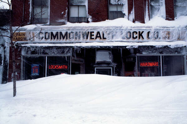 "Commonwealth Lock on Massachusetts Avenue in Cambridge, Massachusetts, behind snow during the ""Blizzard of '78""."