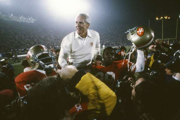 MIAMI, FL- JANUARY 31:  Head Coach Bill Walsh of the San Francisco 49ers gets carried off the field by his players after they defeated the Cincinnati Bengals 20-16 in Super Bowl XXIII  on January 31, 1989 at Joe Robbie  Stadium in Miami, Florida. (Photo by Focus on Sport/Getty Images)