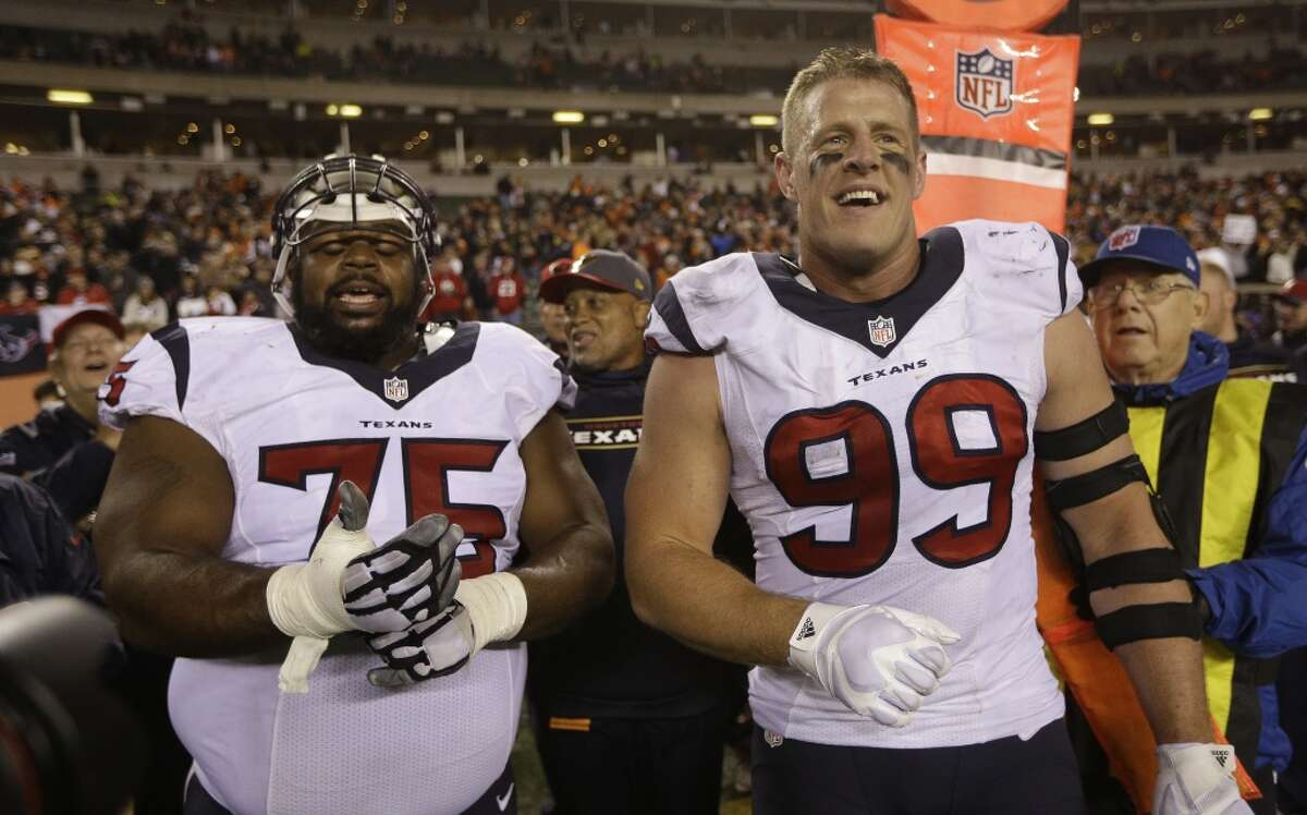 In the eyes of oddsmakers, J.J. Watt (99), Vince Wilfork and the Texans won't be playing on their home field when Super Bowl LI hits NRG Stadium next February.