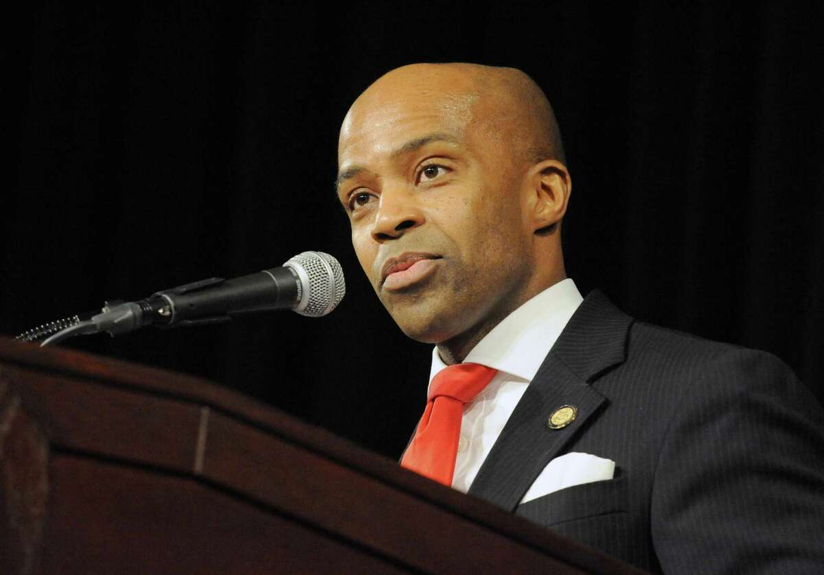 Alphonso David, counsel to Governor Andrew M. Cuomo, gives the formal remarks as the New York State Supreme Court Appellate Division, Third Department, swear in new members of the New York State Bar During a ceremony on Thursday Jan. 21, 2016 in Albany, N.Y. (Michael P. Farrell/Times Union)