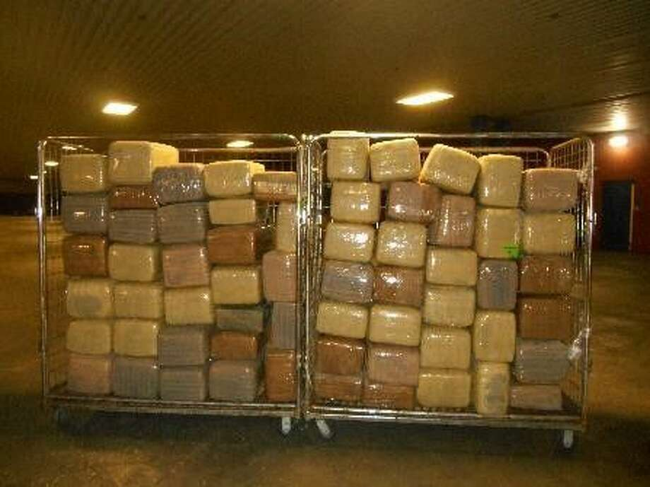 2 tons of marijuana, $2.7 million in meth, $1.7 million in heroin found at Texas border in five days January was a busy month for U.S. Customs and Border Protection Agents. The first two busts came back-to-back on Jan. 13 at the World Trade Bridge connecting Laredo, Mexico to Nuevo Laredo Tamaulipas. There, officers found 2,211 pounds of marijuana hidden inside a commercial scrap metal shipment. Hours later, they found another 1,496 pounds hidden inside a tractor trailer.  The marijuana combined weighed nearly two tons and was worth an estimated $741,363.Further down the Texas-Mexico border, agents found 138.4 pounds of methamphetamine at the Progreso Port of Entry, valued at $2.76 million on Jan. 16. The next day at the same port of entry, agents stopped a man driving a Honda and found 75 pounds of heroin ($1.7 million street value) and 15 pounds of cocaine ($114,920 street value).  Photo: US Customs Border Protection