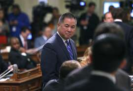 Assemblyman Phil Ting arrives to hear Gov. Jerry Brown's annual State of the State address at the State Capitol in Sacramento, Calif. on Thursday, Jan. 21, 2016.