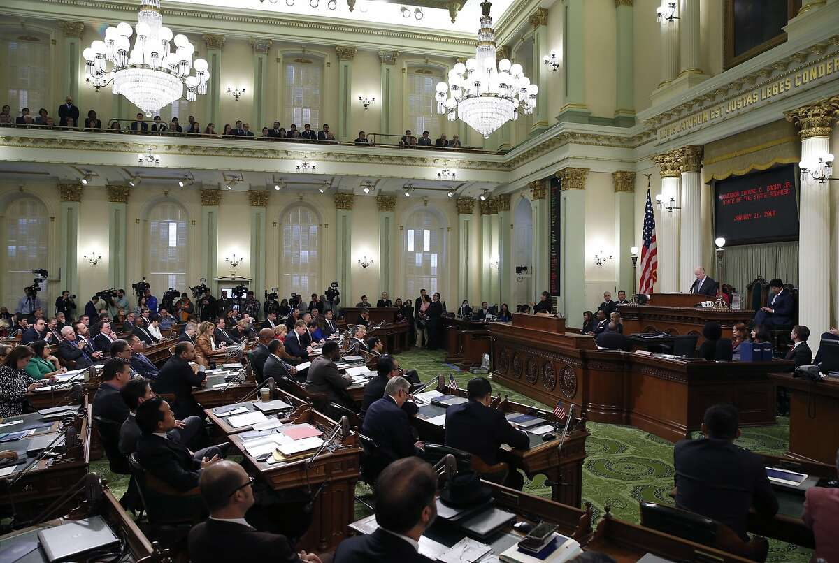 Gov. Jerry Brown (right) delivers the annual State of the State address at the State Capitol in Sacramento, Calif. on Thursday, Jan. 21, 2016.
