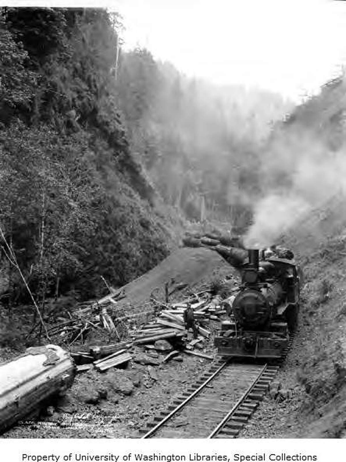 """""""Big Creek Logging Company was based in Knappa, Oregon in Clatsop County. Knappa was named in 1891 for a pioneer settler named Aaron Knapp, Jr. The Big Creek Logging Company had a railroad that operated from 1912 to 1923. The company closed permanently in 1942."""" -UW. Pictured: 0-6-0 Alco locomotive on a log train, Big Creek Logging Company, Knappa, Oregon, circa 1918. Photo courtesy University of Washington Special Collections."""
