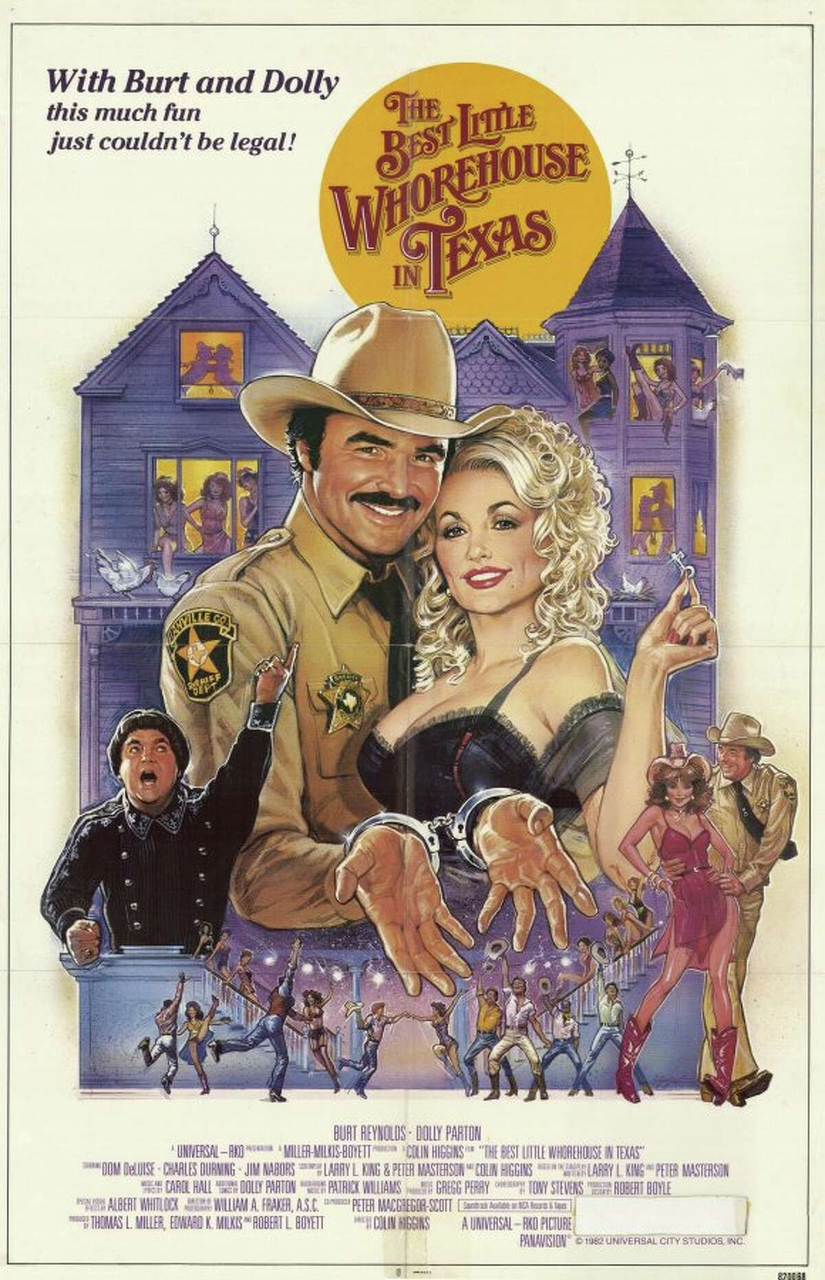 The Best Little Whorehouse in Texas:  This movie has everything: a well-known brothel, a fiery TV preacher, a muck-raking journalist and Dolly Parton. Based on the real-life Chicken Ranch, a brothel that was kept open for decades thanks to the cozy relationship between the madam of the house, law enforcement and government officials. It's a great story and sheds light on the