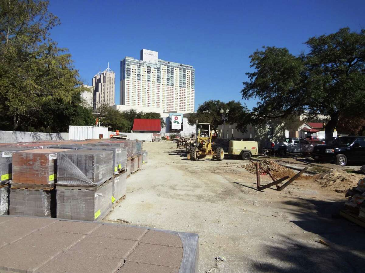 This Hemisfair site next to the playground will be the future home of a 163-unit apartment complex, wrapped around a parking garage, with retail space on the ground floor.
