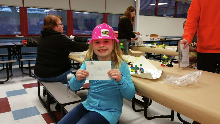 Logan Derosier, age 6, first grader at Watervliet Elementary School participates in the Capital District Chapter of National Association of Women in Construction (NAWIC) will host a Block Kids event at Watervliet Elementary School on January 19, 2016.