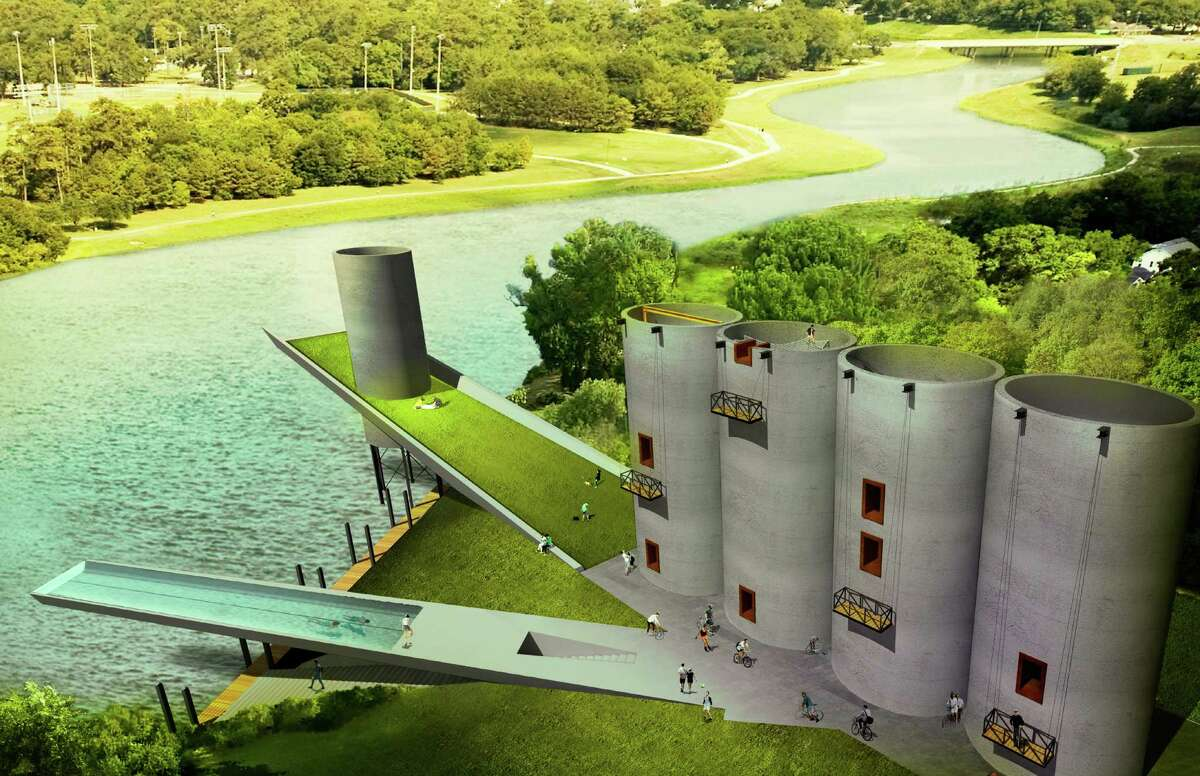 A render-ing of repurposed silos east of downtown created by young Gensler designers.