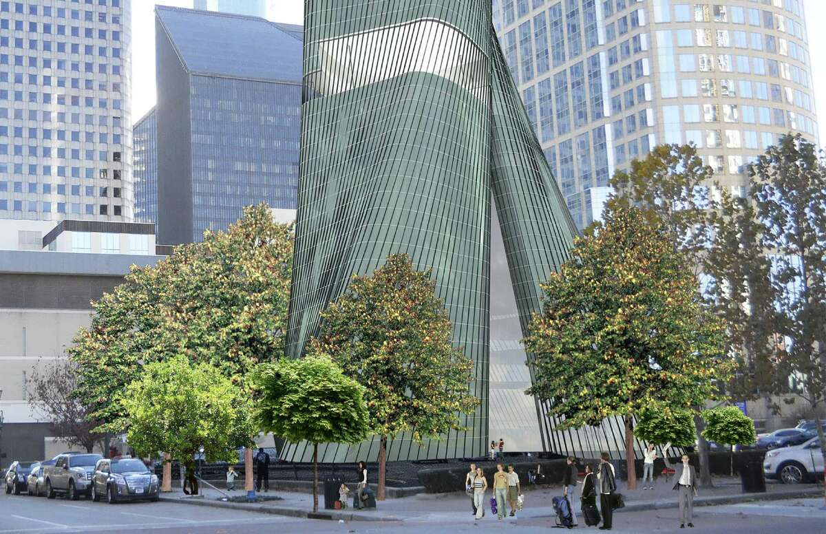 A rendering of a hotel and residential tower designed to be a beacon of water conservation designed by a young designer at the Gensler architecture firm.