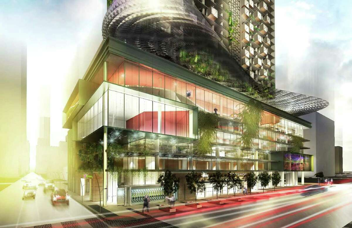 """A rendering of a repurposed downtown building with residential """"pods"""" and space for retail and services on the lower levels designed by a team of young designers with Gensler."""
