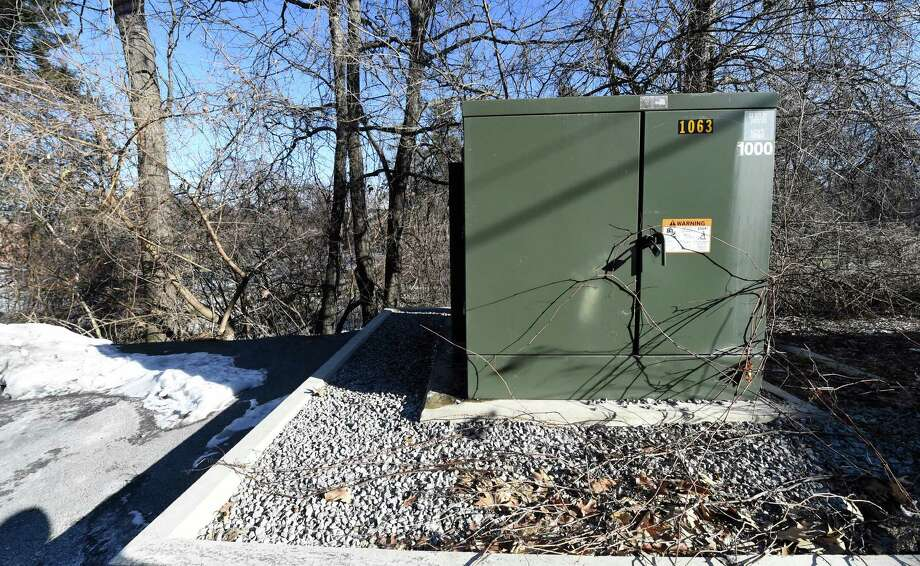 Electrical box positioned on the edge of the park and behind Park Place Condominiums and Paleo Thursday, Jan. 21, 2016, in Saratoga Springs, N.Y.  (Skip Dickstein/Times Union) Photo: SKIP DICKSTEIN / 10035108A