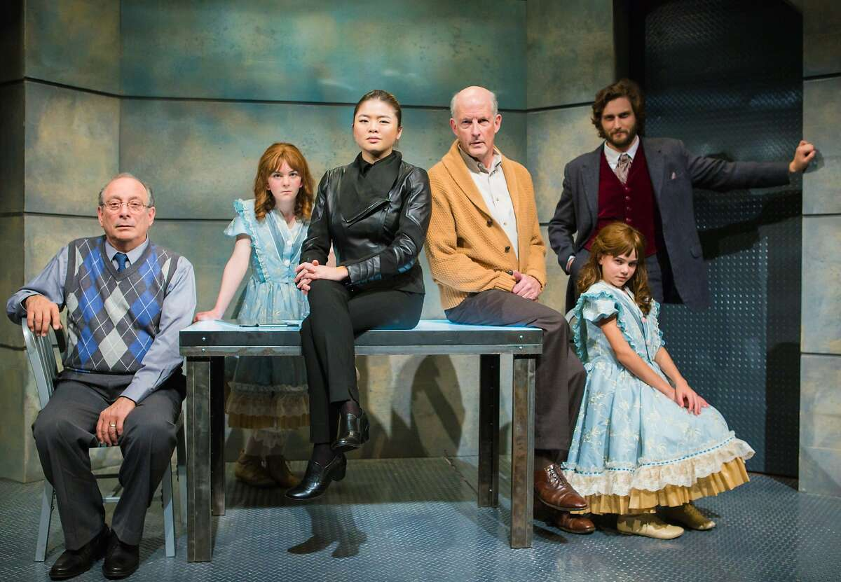 The cast of The Nether. From L-R: Doyle (Louis Parnell), Iris (Matilda Holtz), Morris (Ruibo Qian), Sims/Papa (Warren David Keith), Woodnut (Josh Schell), Iris (Carmen Steele). Note: the role of Iris will be played by Matilda Holtz and Carmen Steele in alternating performances. Photo credit: Jessica Palopoli