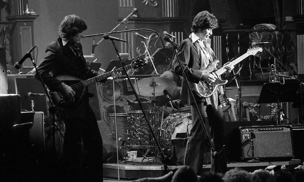 The Band began the rock-'n'-roll portion of the event. Here Rick Danko and Robbie Robertson play. Photo: Gary Fong, The Chronicle