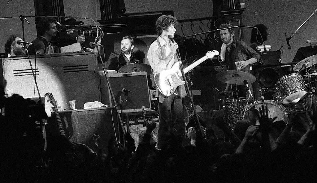 Ringo Starr drumming with The Band, with Robbie Robertson on guitar at the Last Waltz. Photo: Gary Fong, The Chronicle