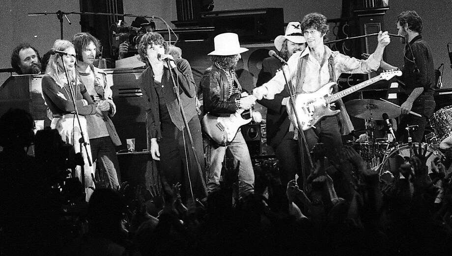 The finale of the Last Waltz with Bob Dylan, guitar front and center. Photo: Gary Fong, The Chronicle