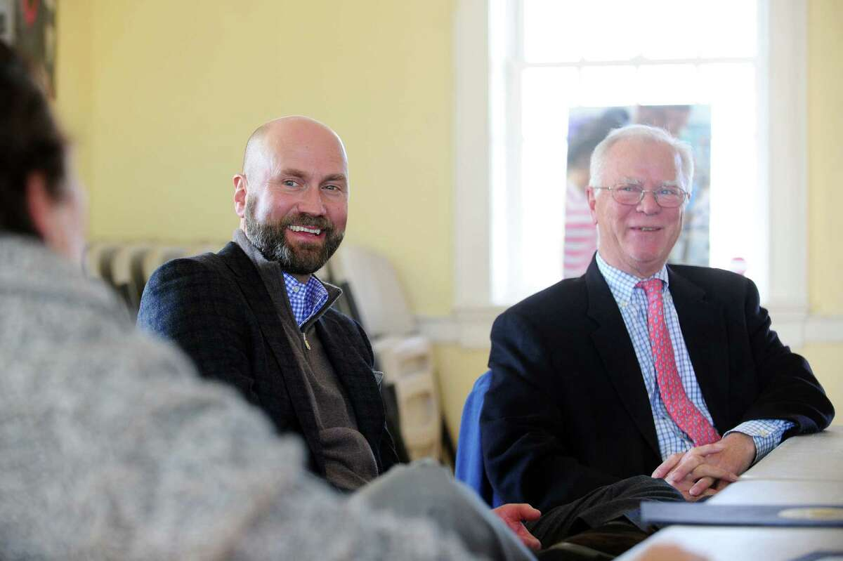 SoundWaters Chairman Scott Mitchell, left, and Young Mariners Chairman Tom O'Connell announce their merger at the SoundWaters Coastal Education Center in Stamford on Thursday.