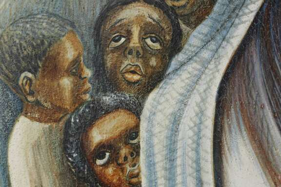 John Biggers' mural, commissioned by a pastor, includes images of young and old and depicts black women as dominant figures.
