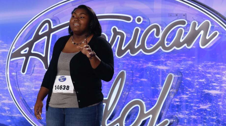 Chynna Sherrod, of Bridgeport, Conn., auditions in front of judges Jennifer Lopez, Keith Urban and Harry Connick Jr. on the 15th and final season of American Idol.