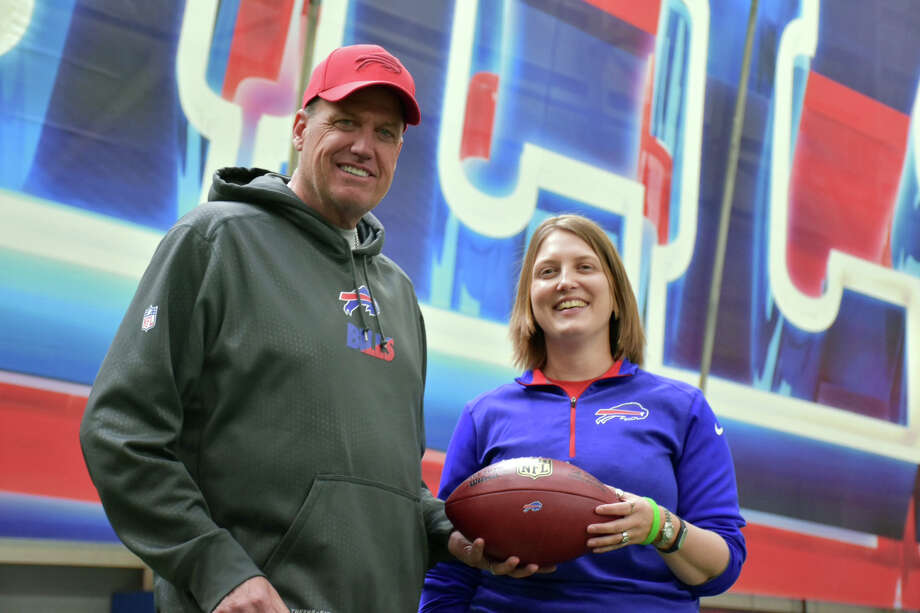 In this provided by the Buffalo Bills, Bills' Head coach Rex Ryan poses with assistant football coach Kathryn Smith Thursday, Jan. 21, 2016, in Orchard Park, N.Y. Smith, who has worked with Ryan for seven years, has become the first, full time, female assistant coach in the National Football League. (Anna Stolzenberg/Buffalo Bills via AP) ORG XMIT: NYR104 Photo: Anna Stolzenberg / Buffalo Bills