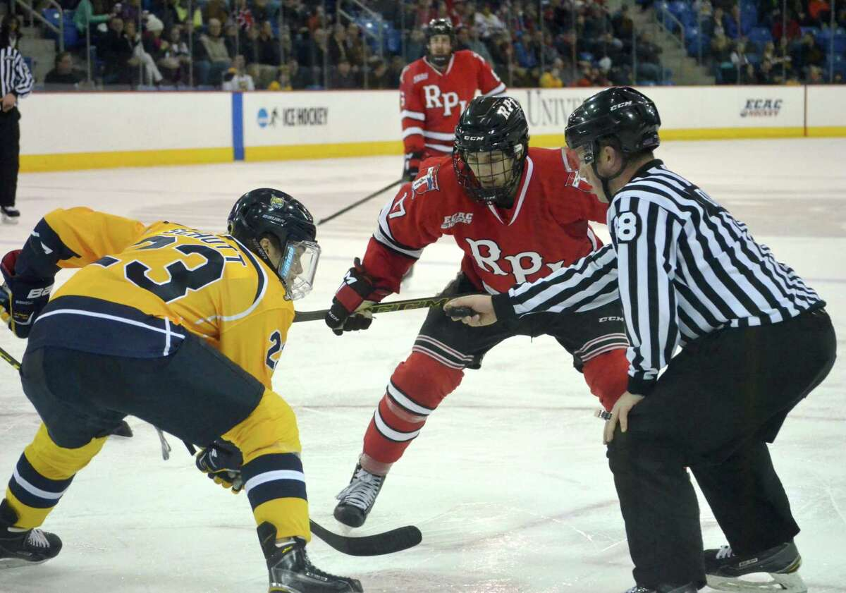 RPI's Jake Wood readies for a faceoff in Thursday night's tie with No. 1 Quinnipiac. (Nick Solari/Special to the Times Union)