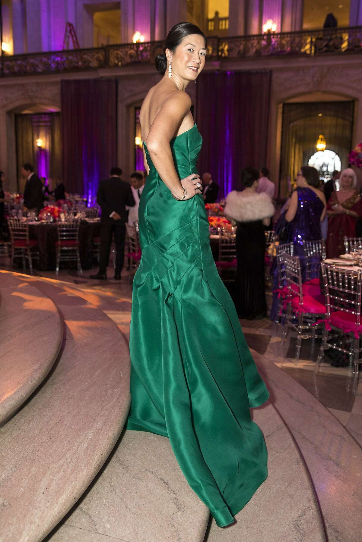 Christine Leong Connors poses for a portrait wearing a Monique Lhuillier gown during the San Francisco Ballet 2016 Opening Night Gala at San Francisco City Hall in San Francisco, Calif., on Thursday, January 21, 2016. Connors was the dinner chair for the gala. The gala celebrated the opening of the company's 83rd season.