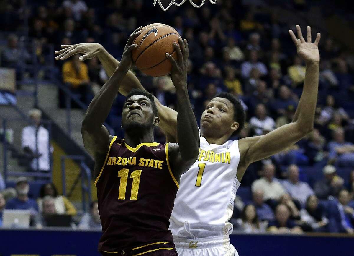 Arizona State's Savon Goodman, left, shoots over California's Ivan Rabb (1) in the first half of an NCAA college basketball game Thursday, Jan. 21, 2016, in Berkeley, Calif.