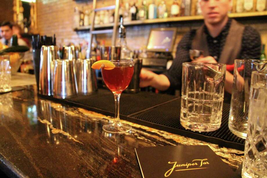 Jerry Valladolid concocts a Profumo Affair, made with Armagnac, Byrrh, Bigallet China-China and Benedictine. Photo: Julie Cohen, San Antonio Express-News