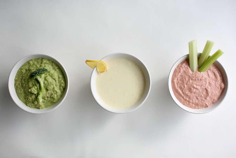 Brocamole, Meyer Lemon Dip, Chard Stalk Hummus Photo: Liz Hafalia, The Chronicle