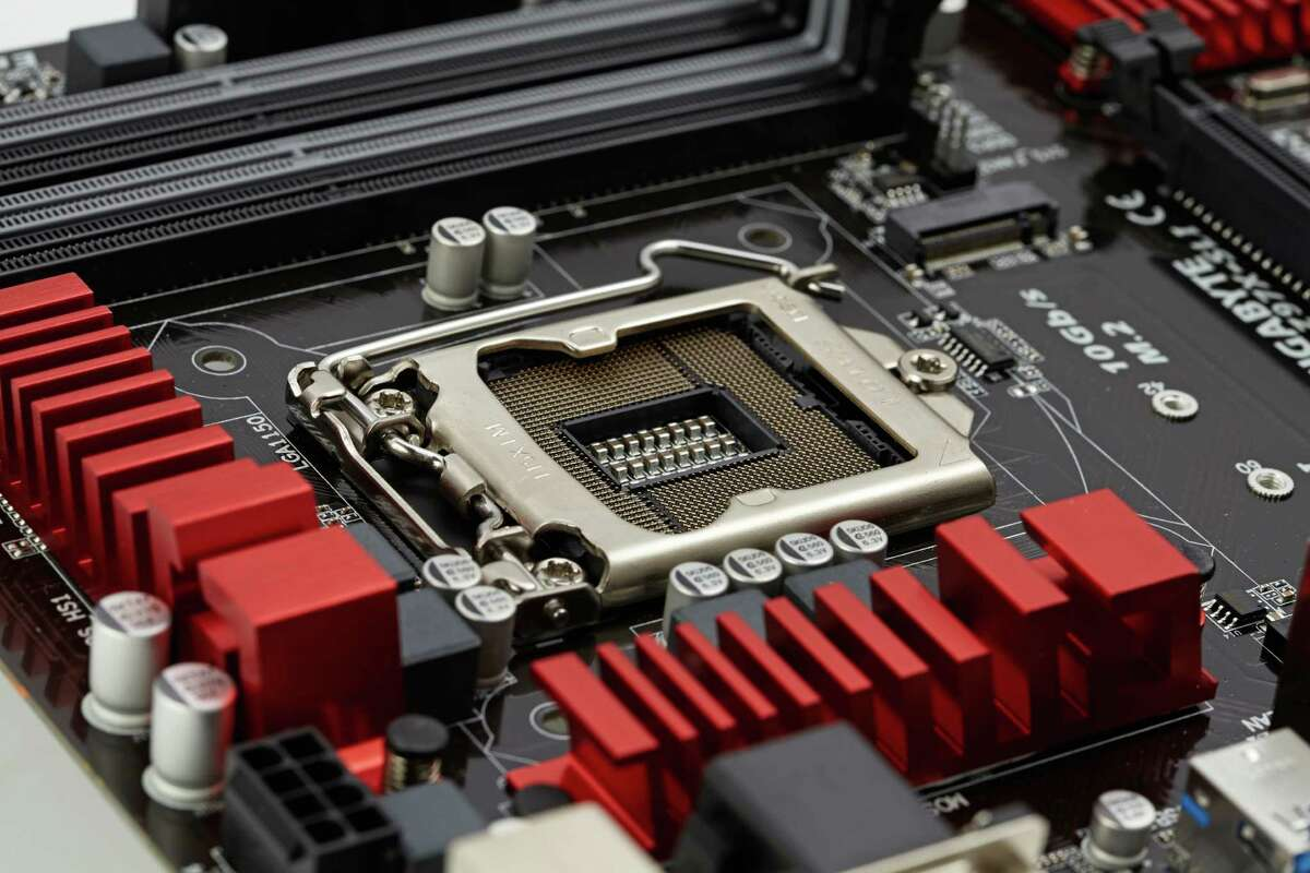 Detail of an Gigabyte Z97X-SLI PC motherboard (Photo by James Looker/PC Format Magazine via Getty Images)