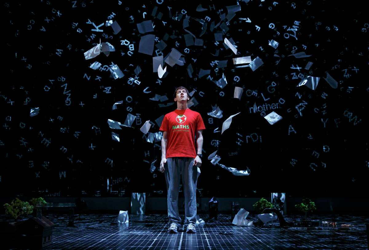 """Alex Sharp (center) in the original Broadway cast of """"The Curious Incident of the Dog in the Night Time,"""" at the Ethel Barrymore Theatre."""