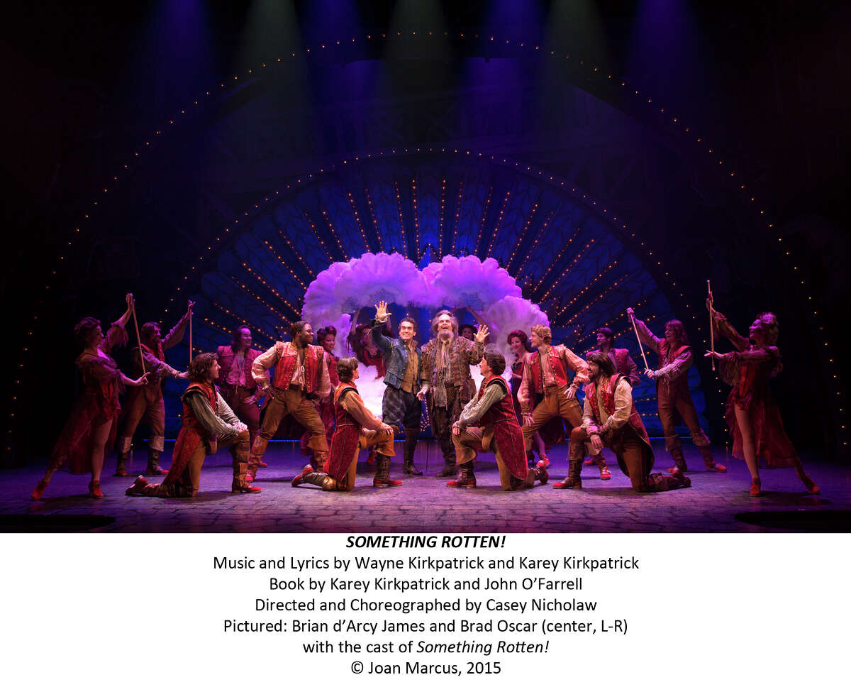 """Brian d'Arcy James and Brad Oscar, center, with the company in """"Something Rotten,"""" original Broadway cast. Something Rotten B-Roll"""
