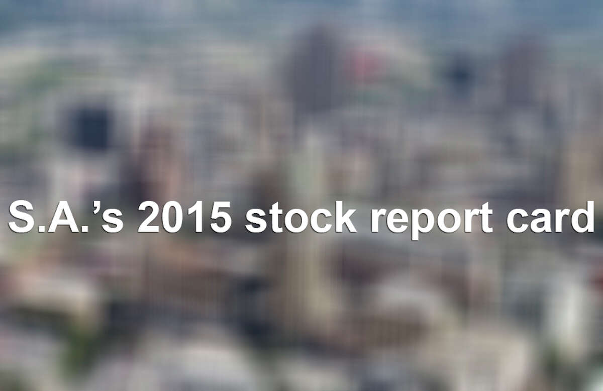Here is the 2015 year-end investor report card for the 26 publicly traded companies in the San Antonio metropolitan area. The percentages represent the total return on the year.