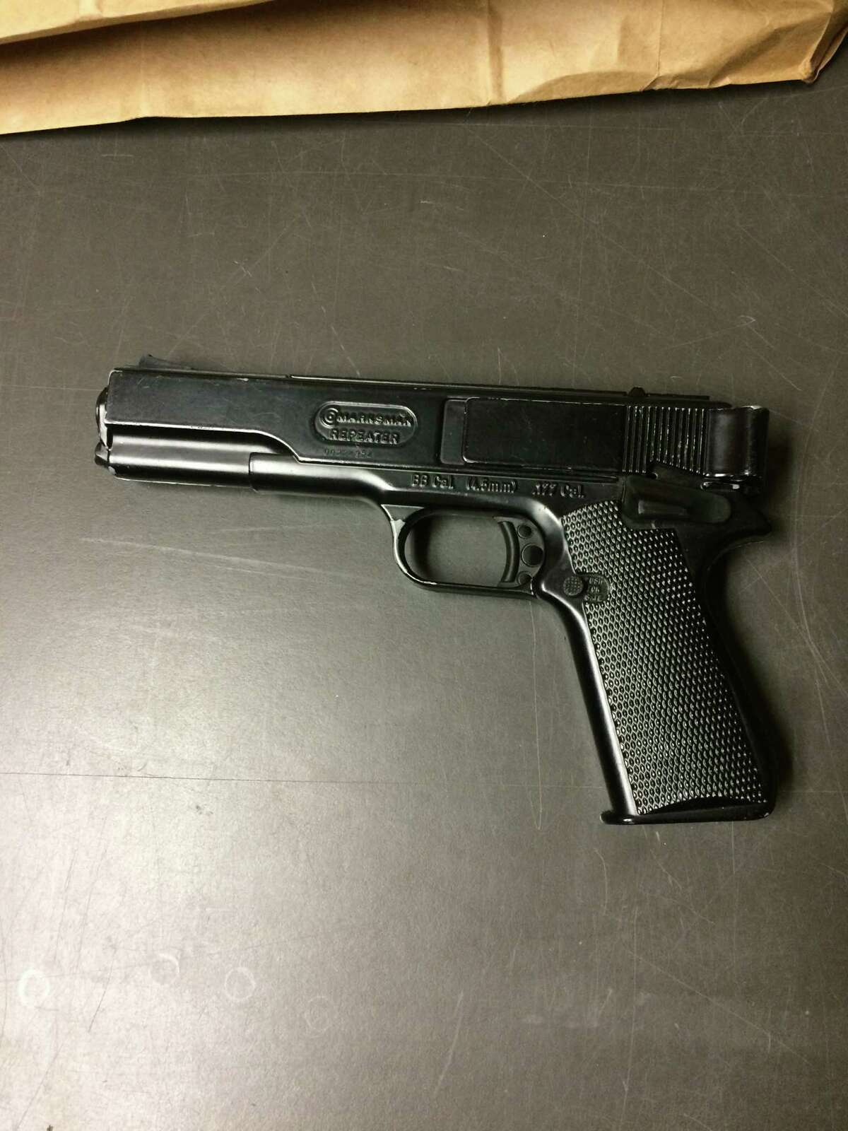 The BB gun made to look like a real handgun that caused a Stamford police officer to fire at Elias Garcia-Ramirez, 29, during a traffic stop on Thursday, Jan. 21, 2016.