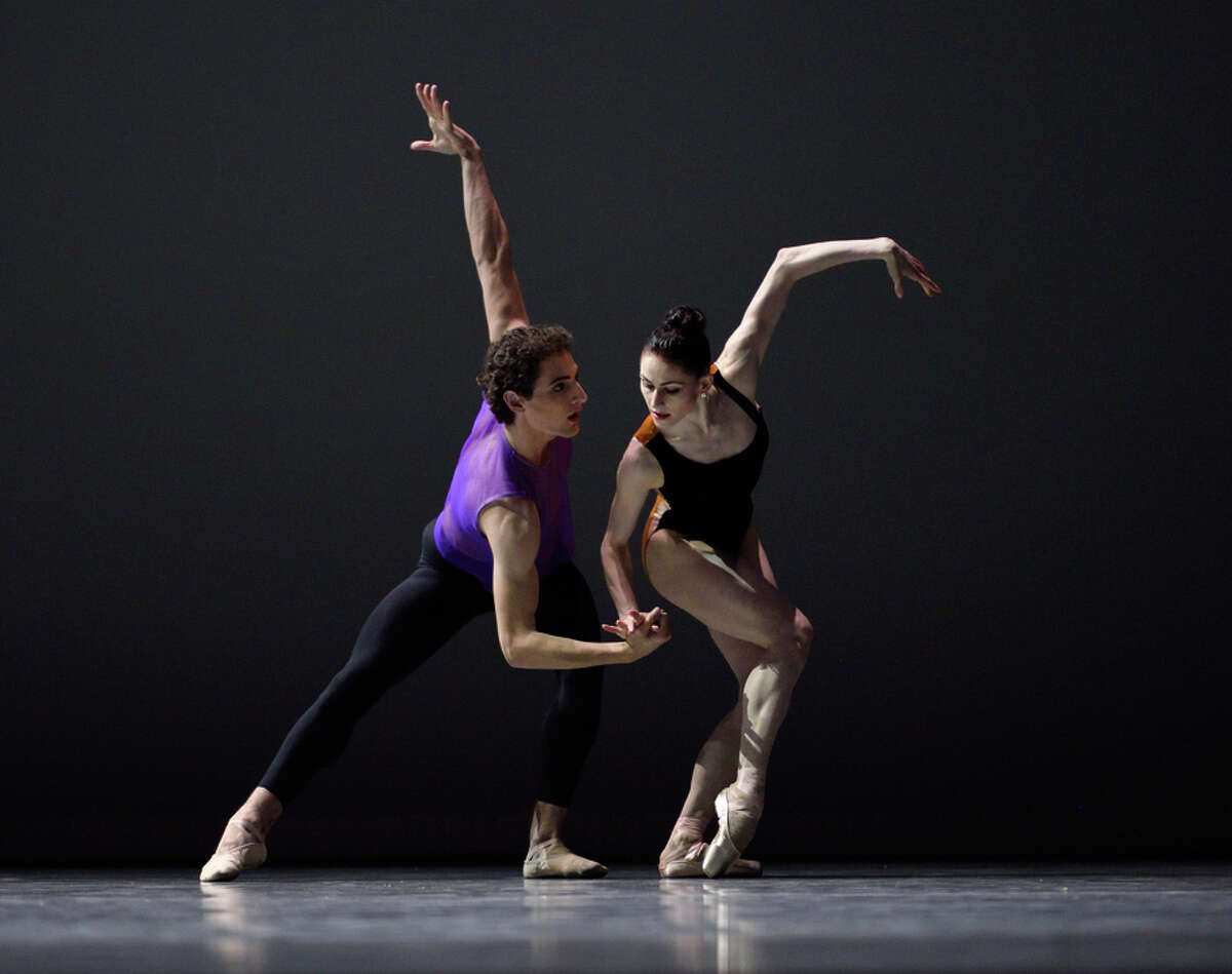 """Carlo Di Lanno (left) and Sofiane Sylve perform an excerpt from William Forsythe's """"Pas/Parts."""""""