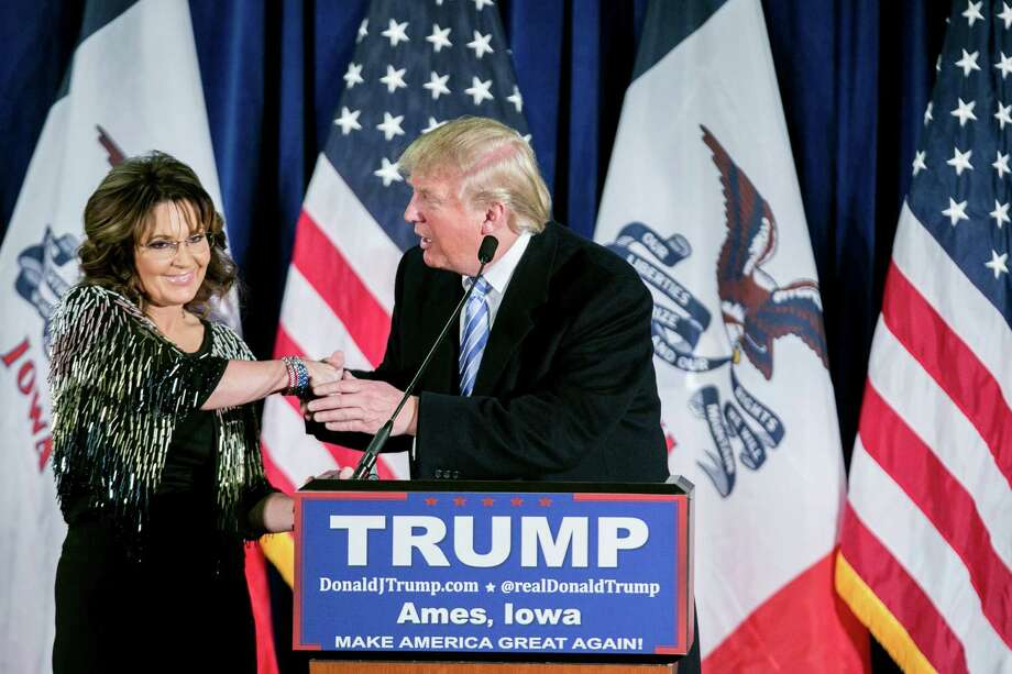 "Sarah Palin's endorsement of Donald Trump was entirely devoid of policy content — a speech that did not even aspire to shallowness. It is enough that Trump is ""going rogue"" and ""ticking people off"" and ""making media heads spin."" Photo: SAM HODGSON /New York Times / NYTNS"