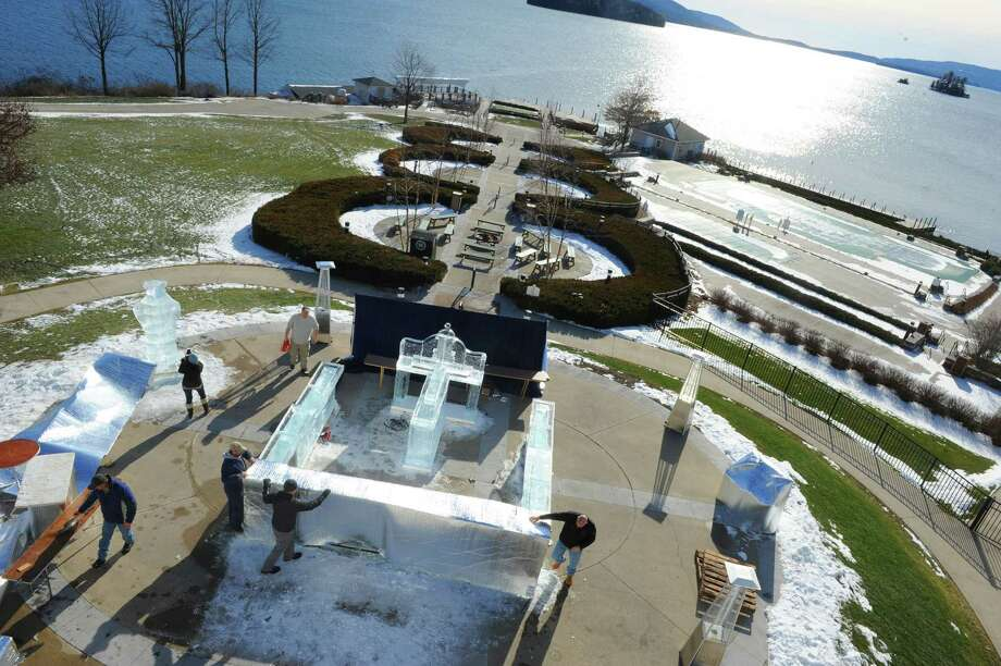 The hotel food and beverage crew work on the 3rd annual Glacier Ice Bar & Lounge at The Sagamore Resort on Friday Jan. 22, 2016 in Bolton Landing, N.Y. (Michael P. Farrell/Times Union) Photo: Michael P. Farrell / 10034888A